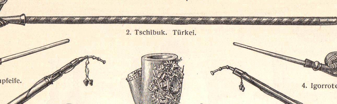 Alter historischer Druck Rauchgeräte I II Holzstich 1907