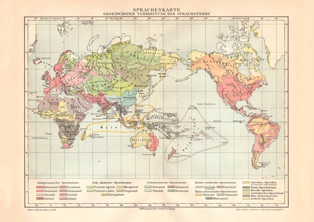 Alte Landkarte Welt Verbreitung Der Sprachenstämme Karte