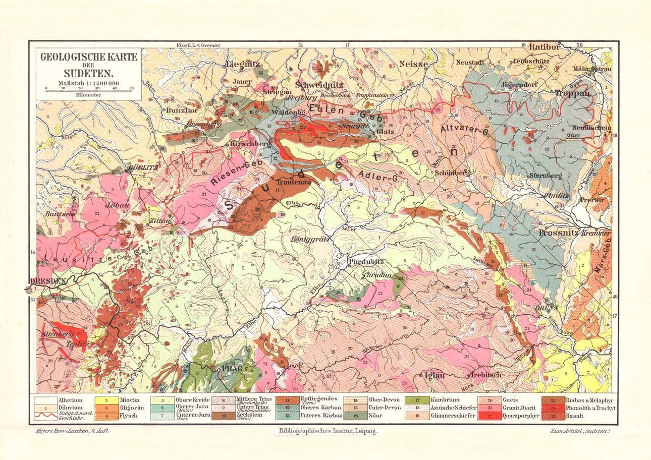Alte Historische Landkarte Sudeten Geologie Zvab