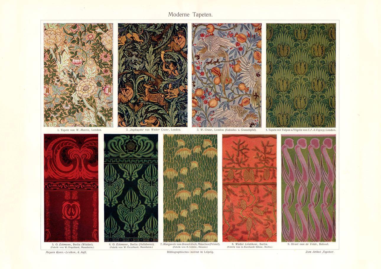Alter Historischer Druck Moderne Tapeten Autotypie 1908