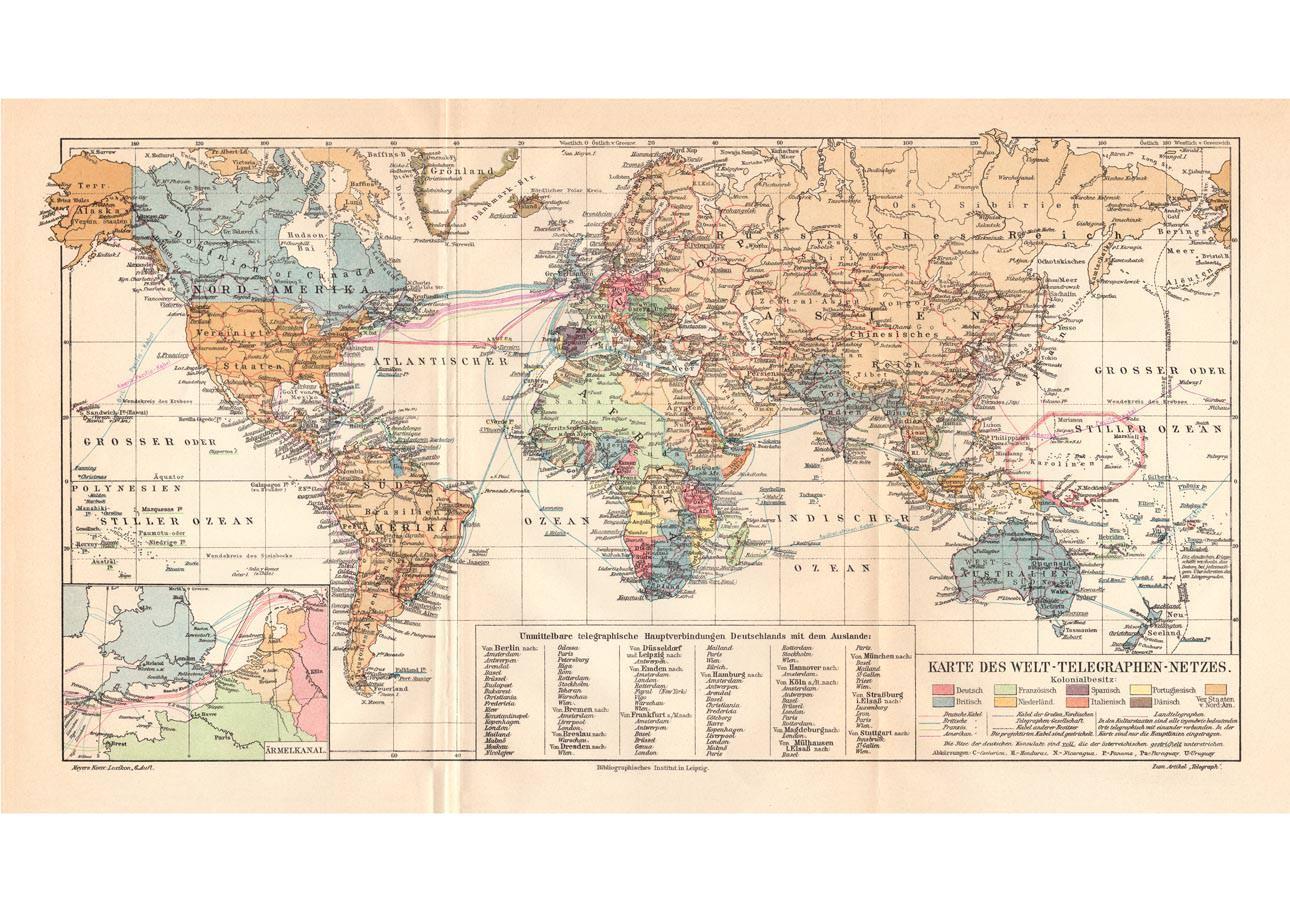 Alte Historische Landkarte Welt Telegraphen Netz Karte Lithographie