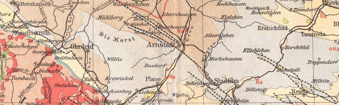 Geologische Karte Thüringen.Alte Historische Landkarte Thüringen