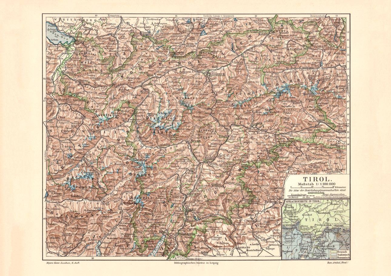 Karte Tirol.Alte Historische Landkarte Tirol Karte