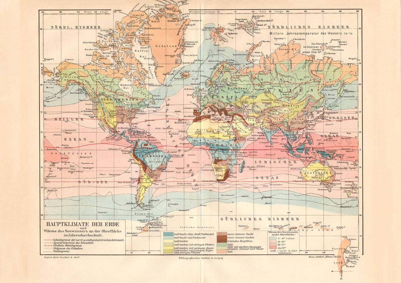 Karte Erde.Alte Historische Landkarte Hauptklimate Der