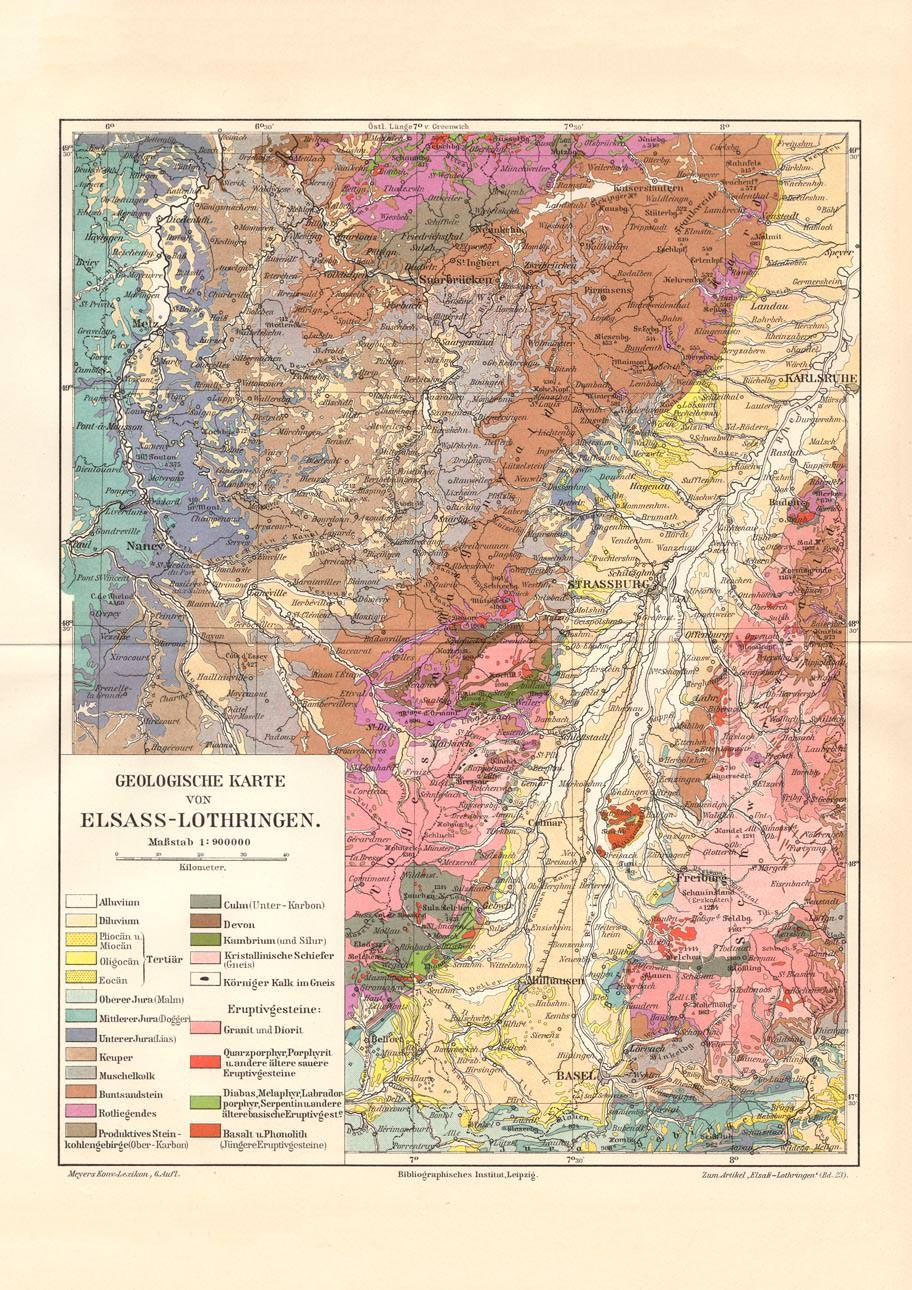 Elsass Karte.Alte Historische Landkarte Elsass Lothringen