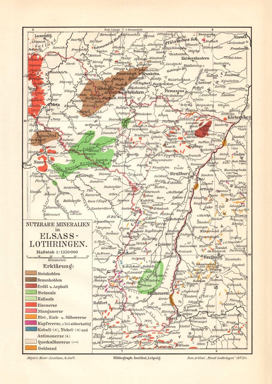 Elsass Auf Karte.Alte Landkarte Elsass Lothringen Nutzbare Mineralien Karte