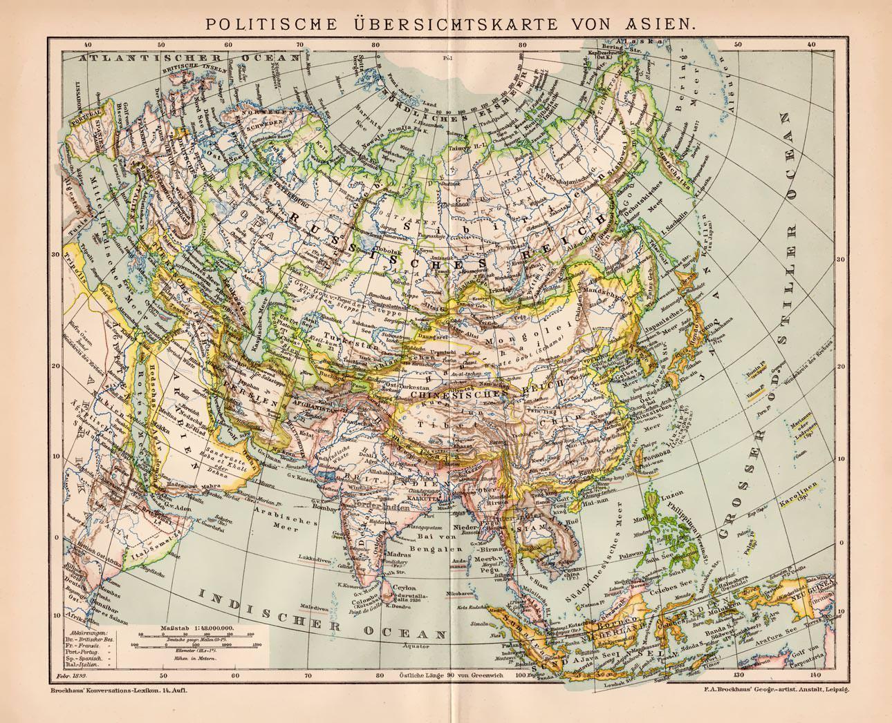 Politische Karte Asien.Alte Historische Landkarte Politische Karte