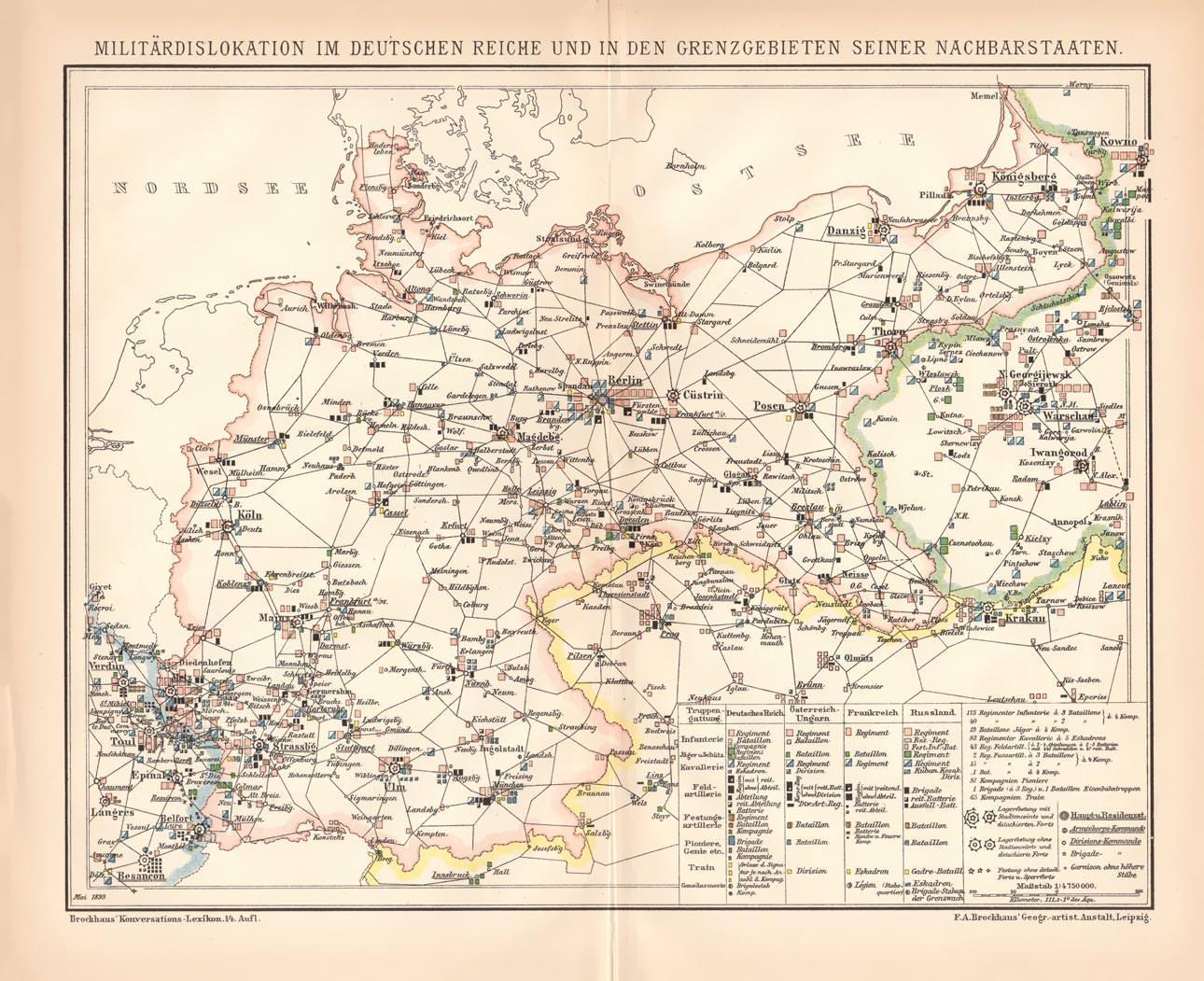 Deutsches Reich Karte.Alter Historischer Druck Militär Deutsches