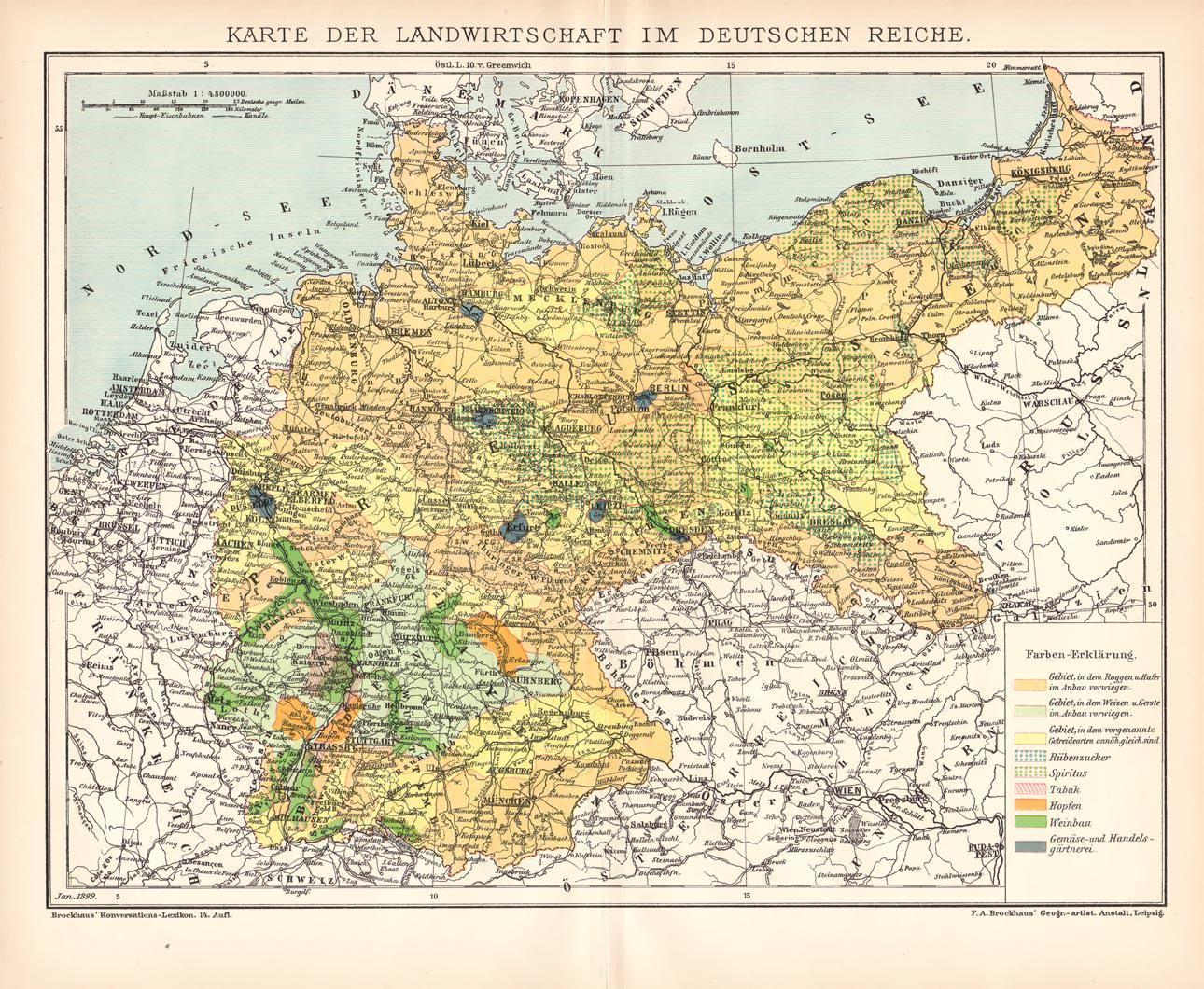 Deutsches Reich Karte.Historische Landkarte Landwirtschaft