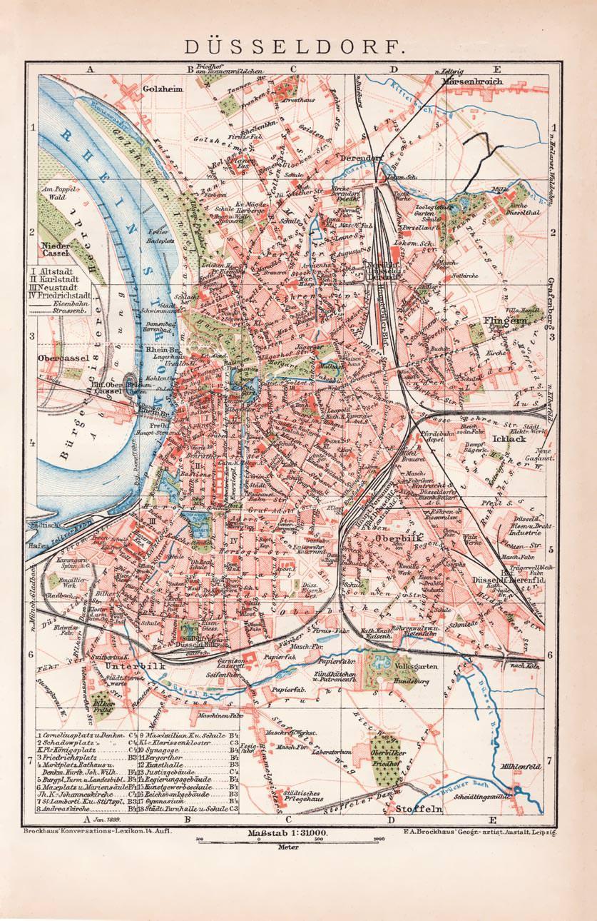Düsseldorf Karte.Alte Historische Landkarte Düsseldorf