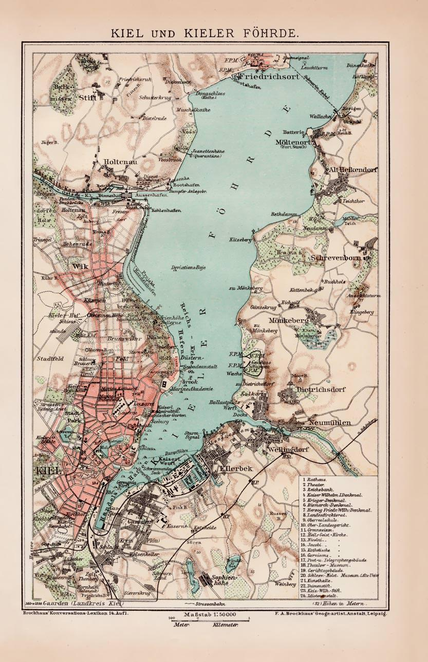 Kieler Bucht Karte.Alte Historische Landkarte Kiel Und Kieler