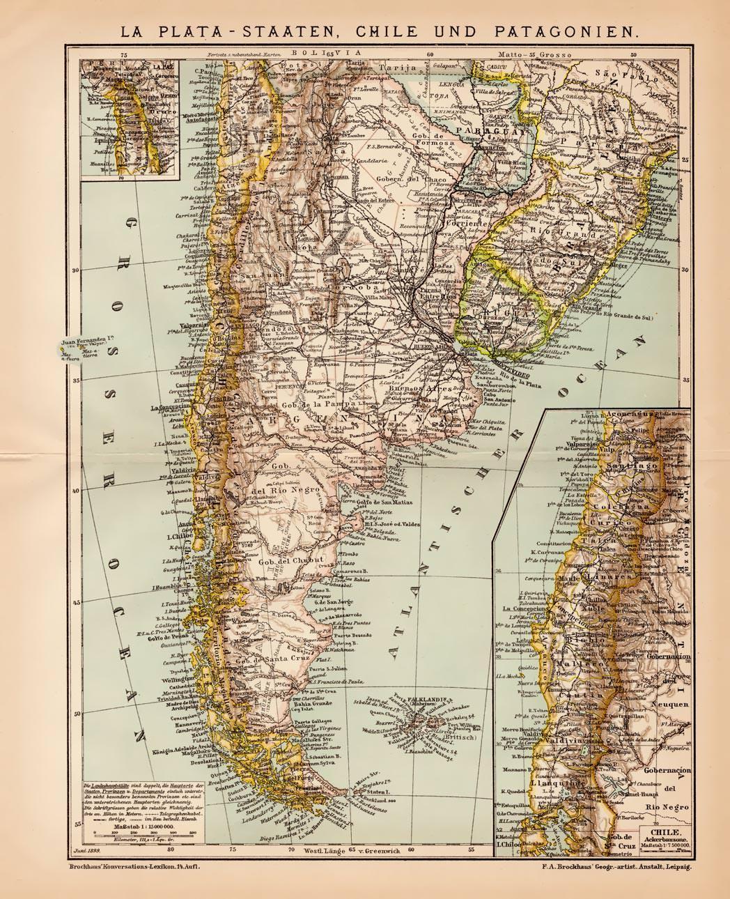 Chile Patagonien Karte.Alte Historische Landkarte Argentinien Chile