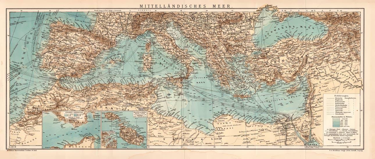 Mittelmeer Karte.Alte Historische Landkarte Mittelmeer Karte
