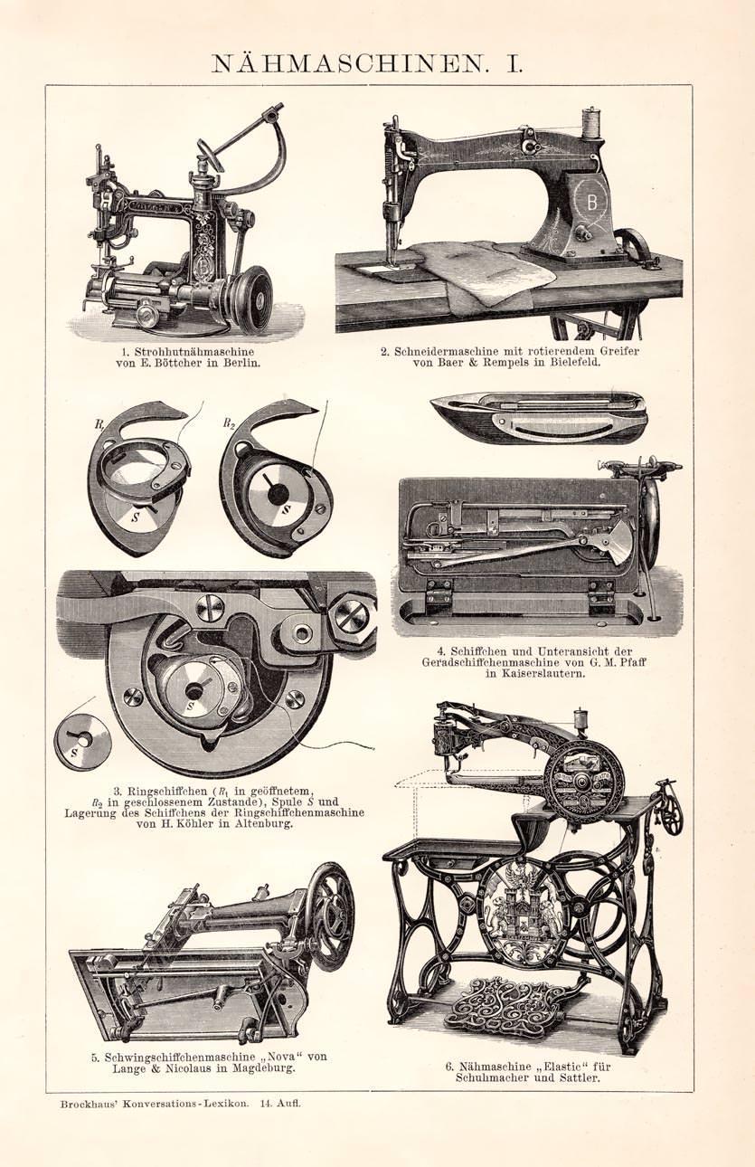 Alter Historischer Druck Nähmaschinen I. Holzstich 1892