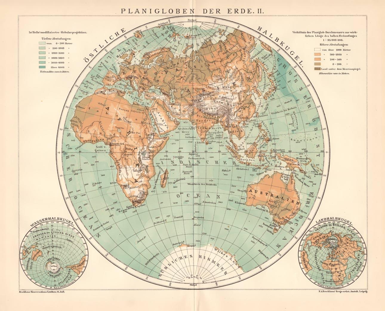 Karte Erde.Alte Historische Landkarte Planigloben Der