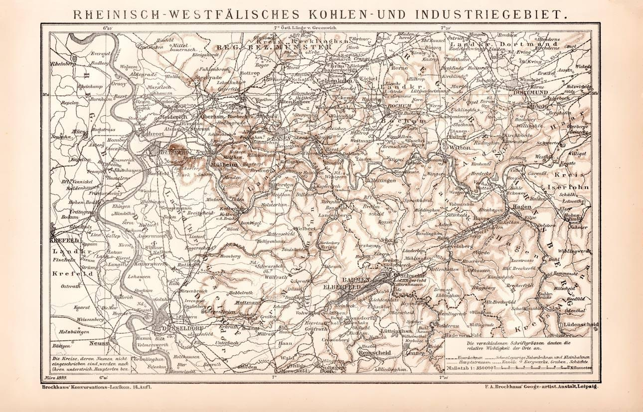 Karte Ruhrgebiet.Alte Historische Landkarte Ruhrgebiet Karte