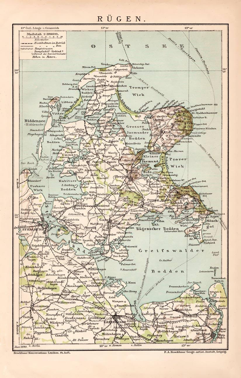Rügen Karte.Alte Historische Landkarte Rügen Karte