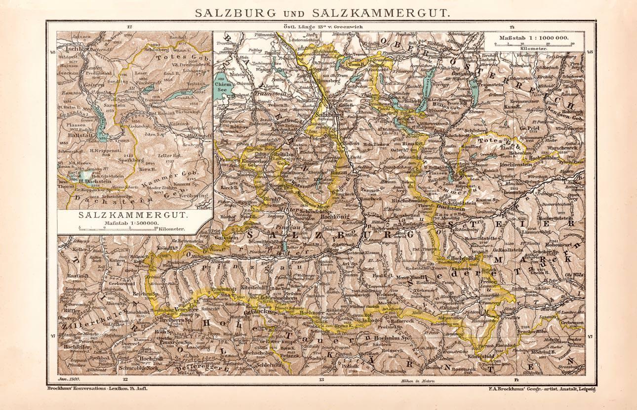 Salzkammergut Karte.Alte Historische Landkarte Salzburg