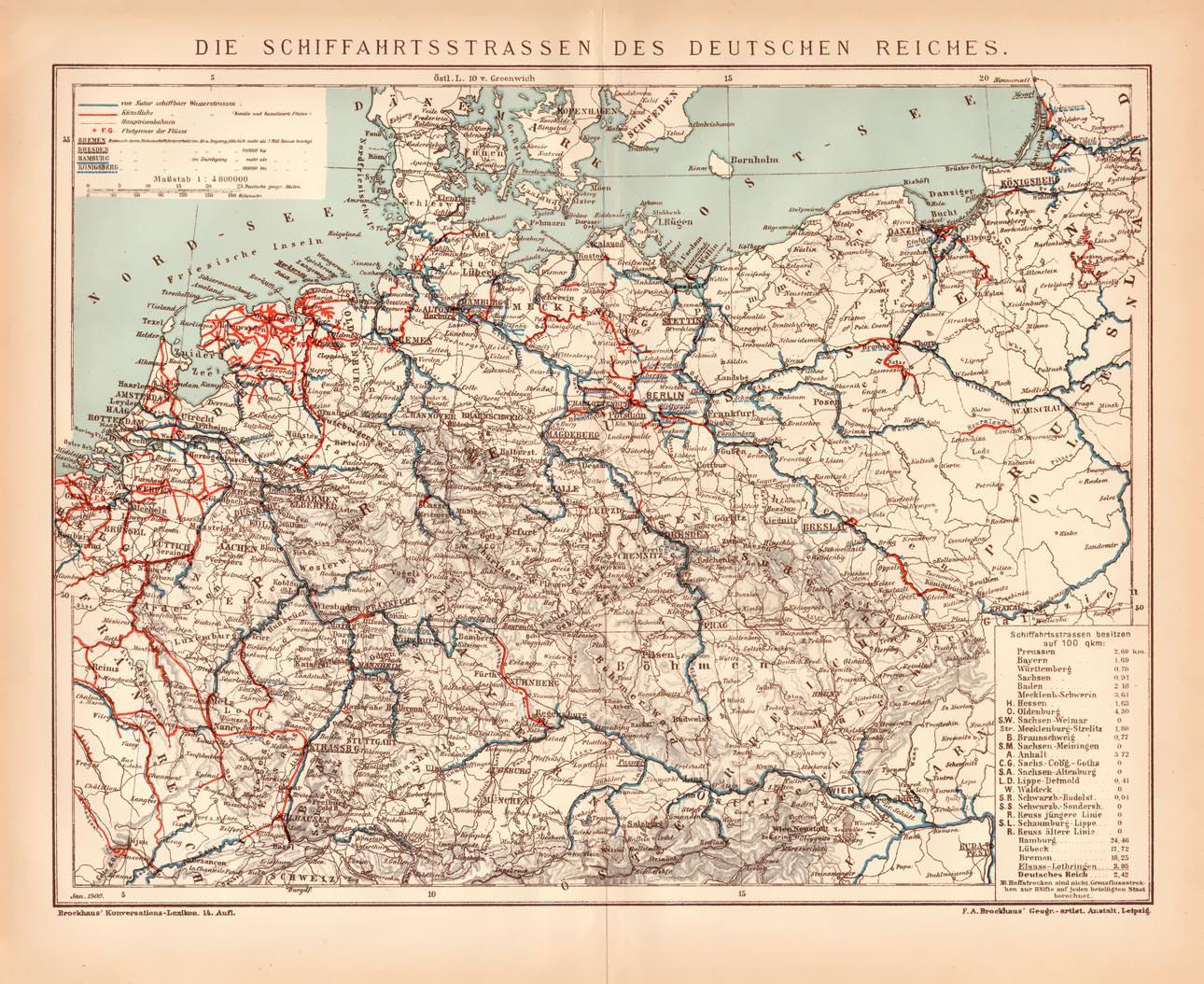 Deutsches Reich Karte.Alte Historische Landkarte Schiffahrt