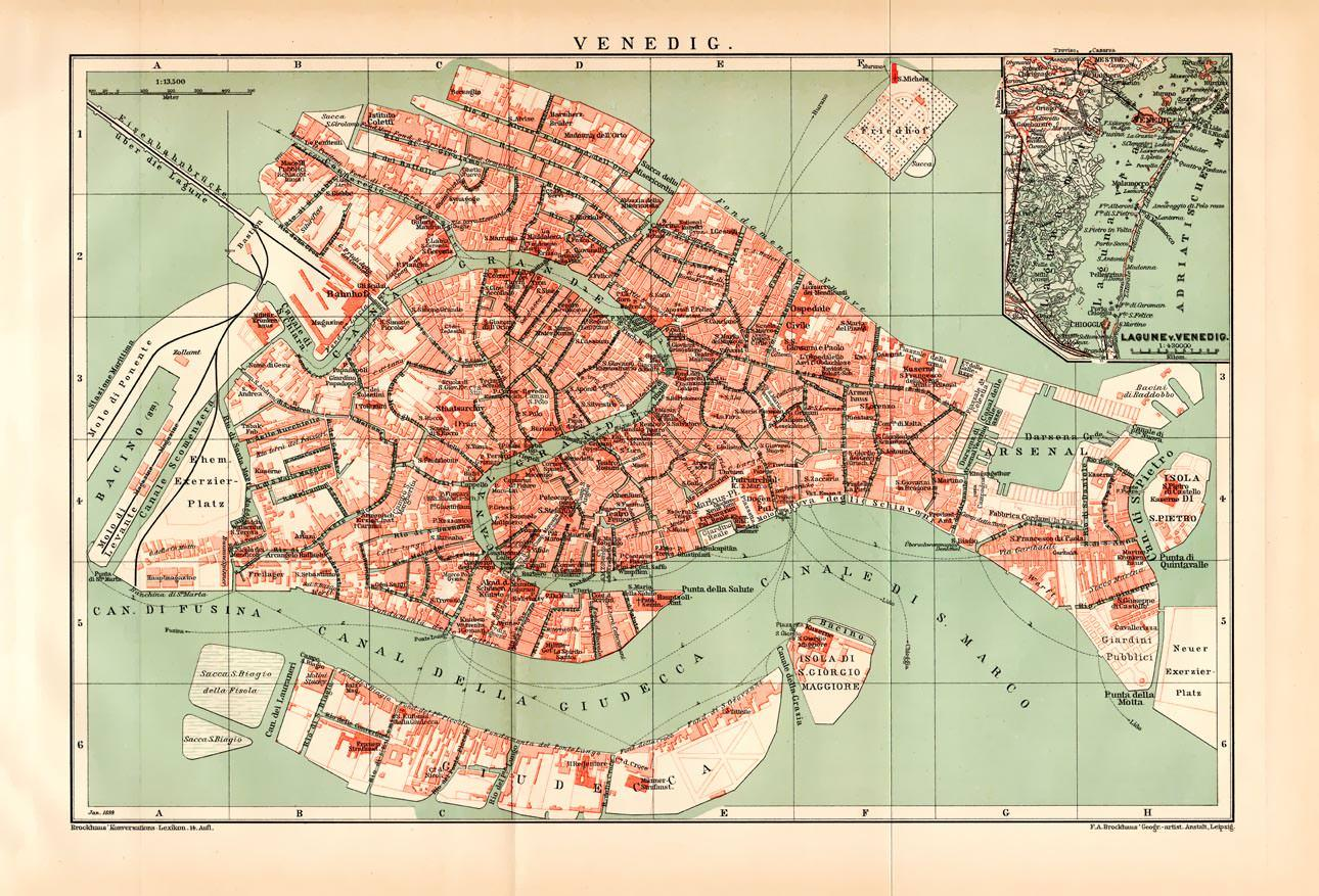 alte historische landkarte venedig stadtplan lithographie 1892 f a brockhaus leipzig kein. Black Bedroom Furniture Sets. Home Design Ideas