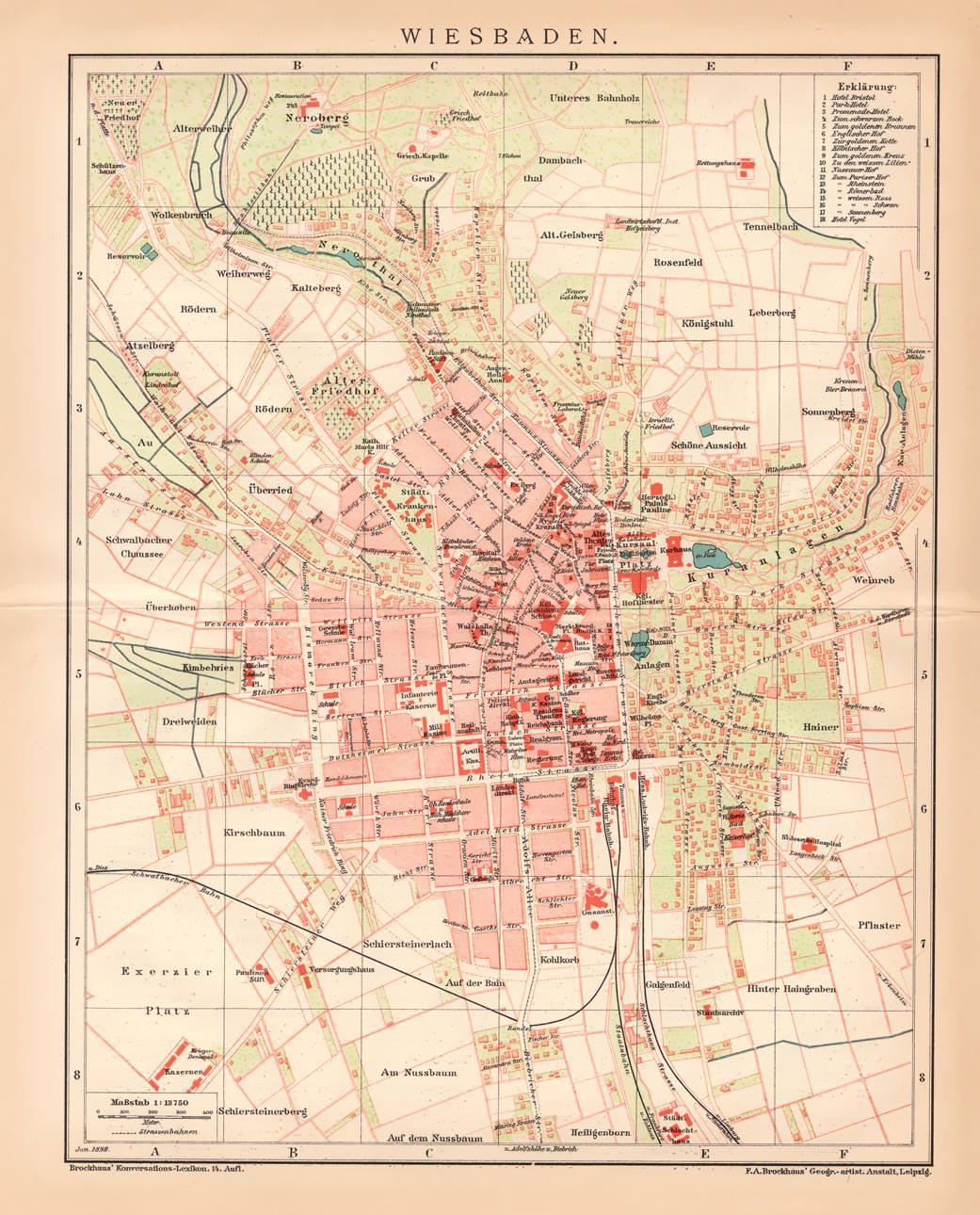 Wiesbaden Karte.Alte Historische Landkarte Wiesbaden