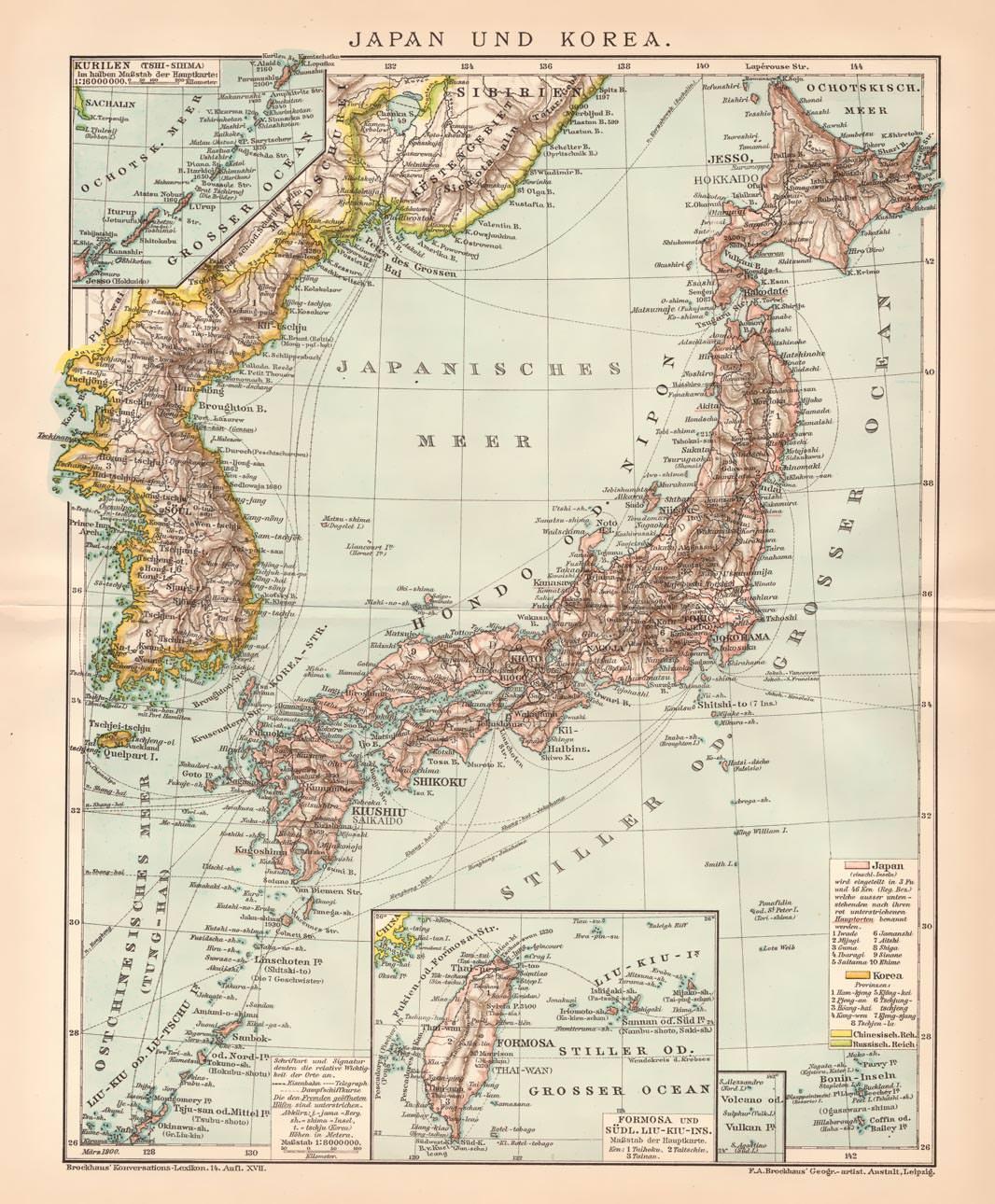 Japan Karte.Alte Historische Landkarte Japan Korea
