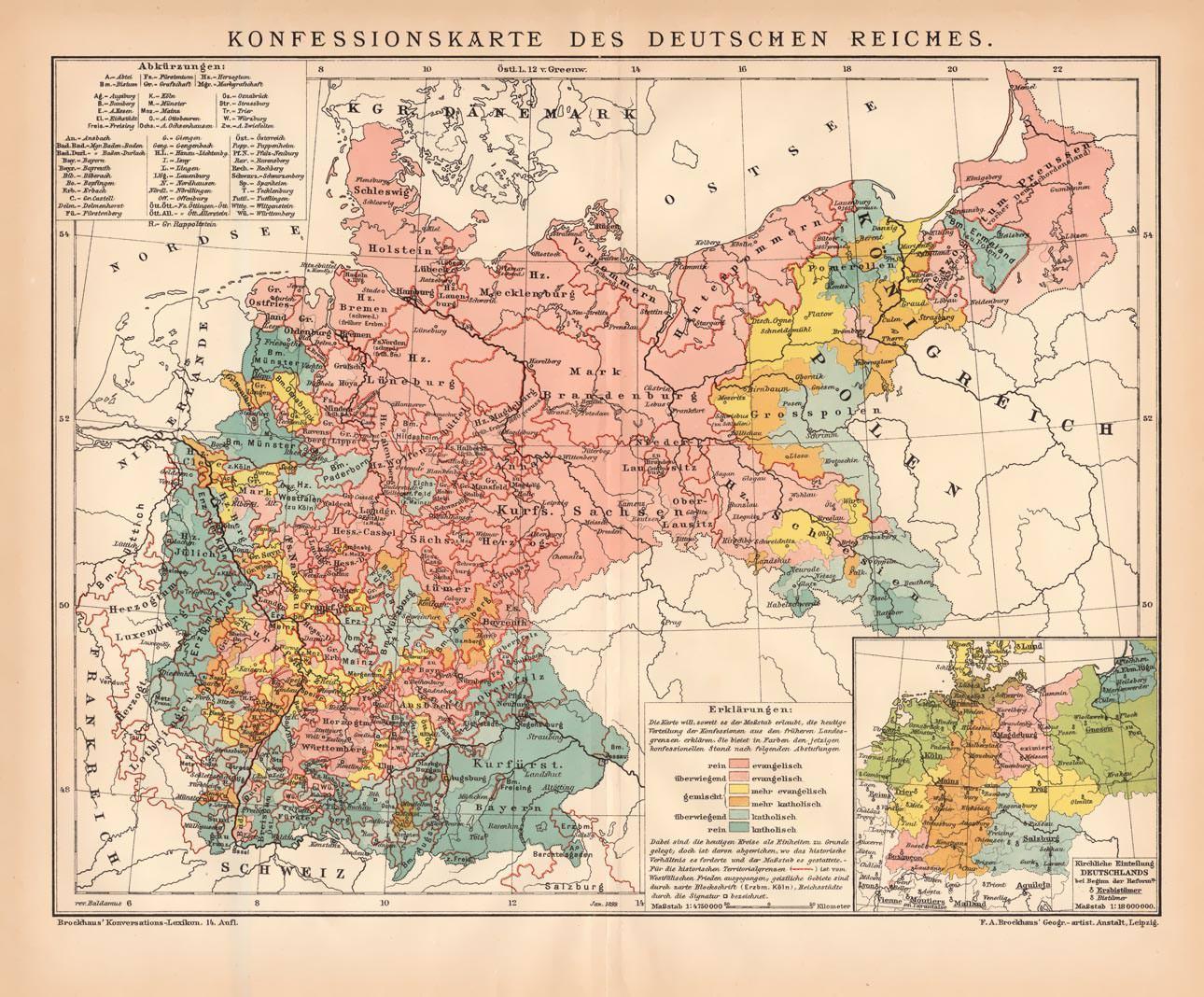Deutsches Reich Karte.Alte Historische Landkarte Konfessionen