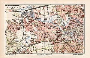 Alte historische Stadtkarte Elberfeld Barmen Stadtplan Lithographie 1903