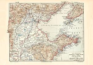 Alte historische Landkarte Provinzen Tschi-Li Schan-Tung Karte
