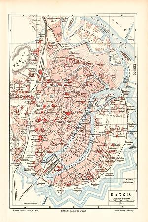 Würzburg Stadtplan Lithographie 1897 alte historische Stadtkarte