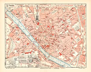 Alte historische Stadtkarte Turin Stadtplan Lithographie 1908 Italien