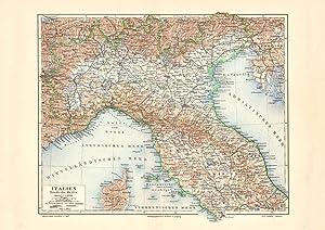 Alte historische Landkarte Alpen Höhenschichten Karte Lithographie 1902