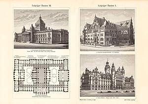 Alter historischer Druck Hamburger Bauten I II Holzstich 1904