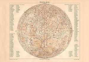 Alter historischer Druck Mondkarte Lithographie 1906