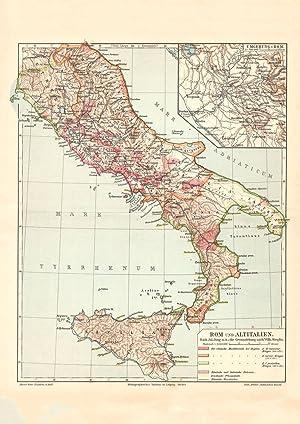Alte historische Landkarte Rom und Altitalien Karte Lithographie 1907