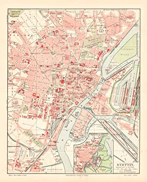 Saale Stadtplan Lithographie 1904 Alte historische Stadtkarte Halle a.d