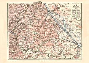 Wien Stadtgebiet Stadtplan Lithographie 1892 historische antike Stadtkarte