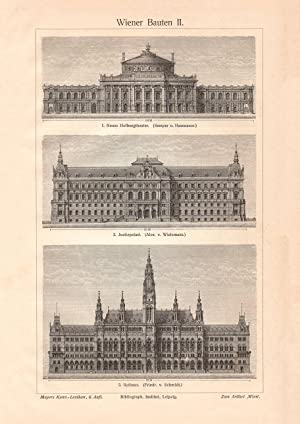 Holzstich 1904 II Alter historischer Druck Hamburger Bauten I