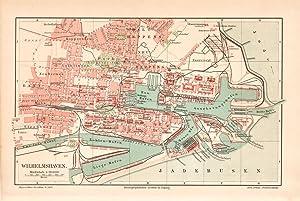 Alte historische Stadtkarte Nürnberg Stadtplan Lithographie 1906