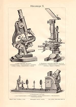 Holzstich 1909 Alter historischer Druck Mikroskope II