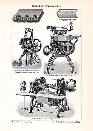 II Holzstich 1913 Alter historischer Druck Buchbindereimaschinen I