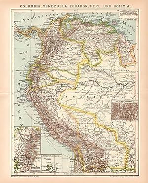 Kuba Jamaika Puerto Rico Karibik Lithographie 1892 alte historische Landkarte