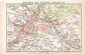 Alte historische Landkarte Hannover Karte Lithographie 1904