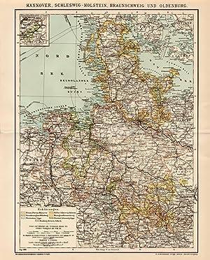 Historische Landkarte Kali Lagerstätten in Deutschland Karte Lithographie 1909