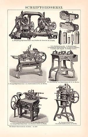 Holzstich 1913 II Alter historischer Druck Buchbindereimaschinen I