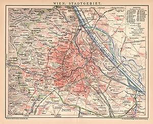 Wien Innere Stadt Stadtplan Lithographie 1892 historische antike Stadtkarte