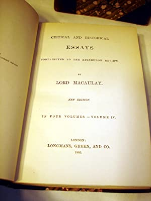 Critical and Historical Essays, Contributed to the Edinburgh Review, 4 volume set: Thomas Babington...
