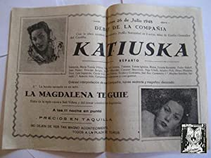 Folleto Publicidad - Advertising Brochure : KATIUSKA. PLAZA TOROS ALBAIDA. 1948