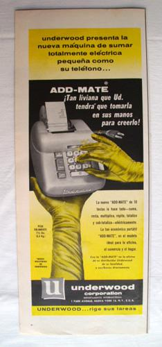 Antigua Hoja Publicidad Revista - Advertising Magazine Old Sheet : Calculadora ADD - MATE, Underw...