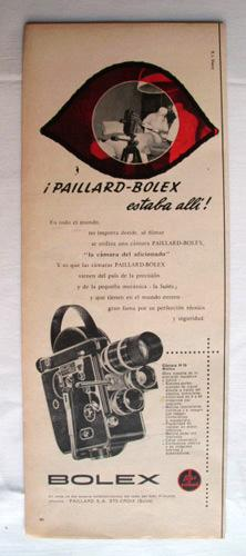 Antigua Hoja Publicidad Revista - Advertising Magazine Old Sheet : Camara PAILLARD - BOLEX. Año 1959